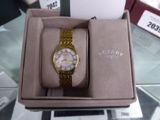 Rotary Roman numeral dial stainless steel strap wristwatch with box