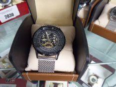 LA Banus stainless steel mesh strap black dial wristwatch with box
