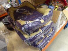4 small purple dog beds