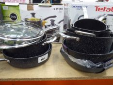 Qty of loose Starfrit pans plus a boxed Tefal saute pan and a box of green pans