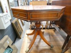 Reproduction yew octagonal side table