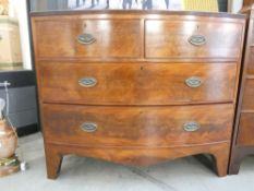 Victorian mahogany bow fronted chest of 2 over 2 drawers