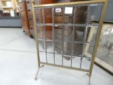 5051 Brass fire screen with glazed and leaded insert