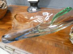 Coloured glass ash tray plus fruit bowl