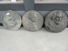2 metal circular wall plaques depicting Shakespeare and a nobleman, plus modern circular plaster