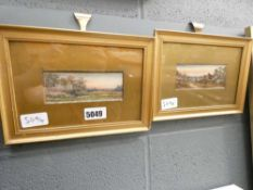 (12) Two miniature rural/coastal watercolours in gold gilt frame