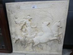 Modern plaster relief plaque: charioteer and horses