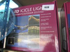 Boxed set of LED icicle lights in warm white