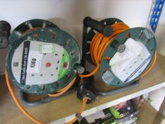 (2) 2 Masterplug 25m cable reels with RCDs and small selection of BG weatherproof storm sockets