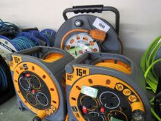 (5) Masterplug 30m reverse cable reel with weatherproof sockets with 2 15m cable reels