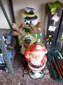 (2) 3 pre lit outdoor Christmas decorations in the forms of Santa, reindeer and snowman