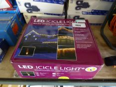 (1027) Boxed set of Christmas icicle lights in warm white