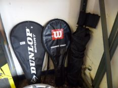 2 tennis rackets with folding camping chair