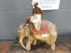 Plaster figure of Indian elephant with mahout
