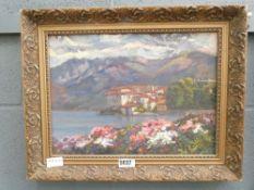 Oil on board view of Italian lake