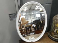 Oval mirror in white painted frame