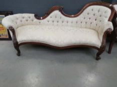 Carved edwardian chaise lounge in cream floral fabric