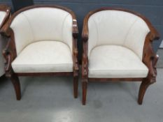 Pair of carved tub chairs in cream floral fabric