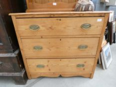 Waxed pine chest of 3 drawers