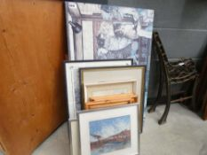 Quantity of water colours and prints to include snow landscapes, shop fronts, still life with