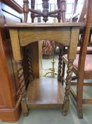 Oak 2 tier side table with barley twist supports