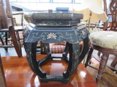 Black lacquered oriental pot stand