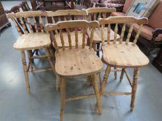 5 pine stick back bar stools