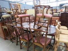 Reproduction mahogany extending dining table with 8 chairs - To include 2 carvers