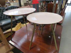 2 metal circular tripod side tables