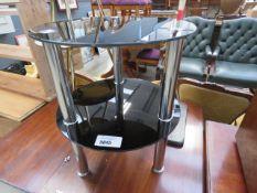 Circular metal and glazed 2 tier side table