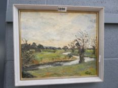 Oil on canvas stream with willow trees signed Parry