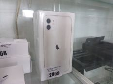 2048 Apple IPhone 11 in white with 128GB storage. Model A2221, in sealed box