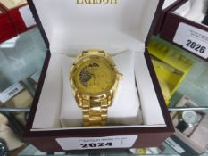 Edison stainless steel strap moon face dial wrist watch with box