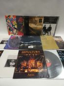 Box containing quantity of LP and 45 records to include Black Sabbath, The Knife, Frank Turner,