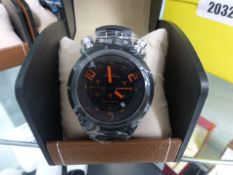 LA Banus chronograph wrist watch with rubberized strap and black face with box