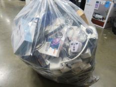 Bag of miscellaneous electrical sundries including audio switches, adapter cables, web cams etc