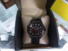LA Banus black faced dialled watch with black mesh metal strap and box
