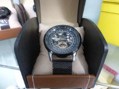 LA Banus black mesh strapped wrist watch with box