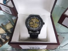 Edison black dial open movement automatic wrist watch with black leather strap