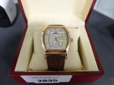 2028 Gents Stockwell moon face dial automatic wrist watch with brown leather strap and box