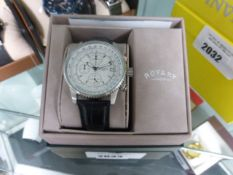 Gents Rotary chronograph wrist watch with black leather strap and box