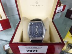 Gents Stockwell blue face dial black leather strap wrist watch with box