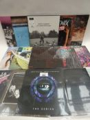 Box containing quantity of LP and 45 records to include R.E.M, Yola, Bright Eyes, Cool & The Gang