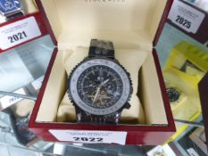 Stockwell chronograph automatic wristwatch with black metal strap and box
