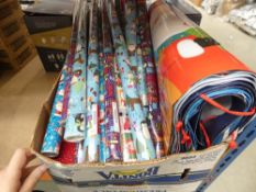 Large box containing mixed Christmas wrapping paper, gift bags, etc