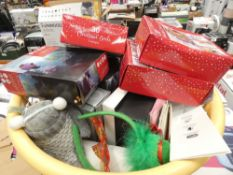 2 boxes containing mixed Christmas items including cards, decorations, etc