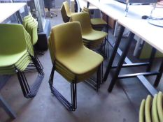 12 Fredericia Welling/Ludvik, item 4102, black framed olive green cloth stacking chairs