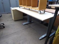 2 maple top cantilever desks with one pedestal, together with 1 black and 1 white chair