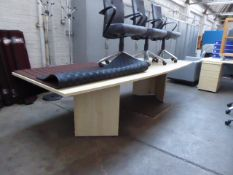 300cm maple boat shape boardroom table on slab legs