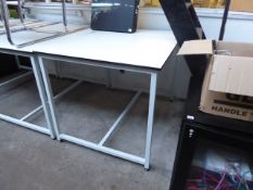 120cm x 90cm white top metal frame table
